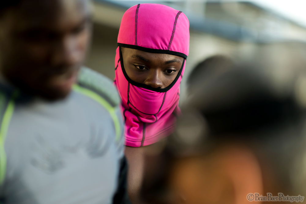 El Camino Eagles Dale Armstrong (2), were a pink mask before the game as the El Camino Eagles host the Rio Americano Raiders at Del Campo High School, Friday Oct 7, 2016. <br /> photo by Brian Baer