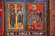 Painted wooden panel of the Altar of d'Ix showing the apostles. From the Church of Sanit Matin d'Ix, La Guinguetta d'Ix, Alta Cerdanya, Spain.  National Art Museum of Catalonia, Barcelona 1958. Ref: MNAC 15802. .<br /> <br /> If you prefer you can also buy from our ALAMY PHOTO LIBRARY  Collection visit : https://www.alamy.com/portfolio/paul-williams-funkystock/romanesque-art-antiquities.html<br /> Type -     MNAC     - into the LOWER SEARCH WITHIN GALLERY box. Refine search by adding background colour, place, subject etc<br /> <br /> Visit our ROMANESQUE ART PHOTO COLLECTION for more   photos  to download or buy as prints https://funkystock.photoshelter.com/gallery-collection/Medieval-Romanesque-Art-Antiquities-Historic-Sites-Pictures-Images-of/C0000uYGQT94tY_Y