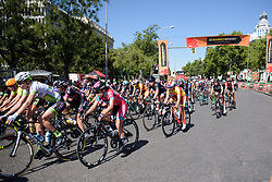 Peloton speed by at Madrid Challenge by la Vuelta 2017 - a 87 km road race on September 10, 2017, in Madrid, Spain. (Photo by Sean Robinson/Velofocus.com)