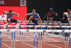 February 7, 2018 - Paris, Ile-de-France, France - From left to right : Jorge Urena of Spain, Kevin Mayer of France, Ruben Gado of France, Basile Rolnin of France compete in 60m Triathlon during the Athletics Indoor Meeting of Paris 2018, at AccorHotels Arena (Bercy) in Paris, France on February 7, 2018. (Credit Image: © Michel Stoupak/NurPhoto via ZUMA Press)