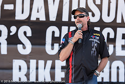 Bill Davidson on stage at the HD Rally Point during the Harley-Davidson Editors Choice Custom Bike Show on Main Street during the annual Sturgis Black Hills Motorcycle Rally.  SD, USA.  August 8, 2016.  Photography ©2016 Michael Lichter.