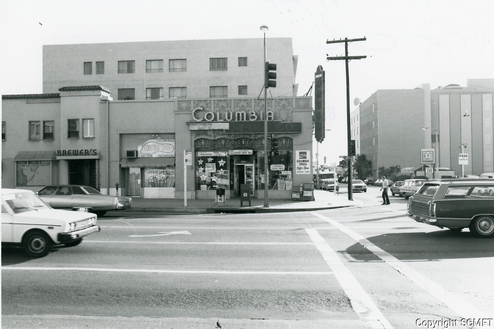 1975 Columbia Drug Store on the SE corner of Sunset Blvd. & Gower St.