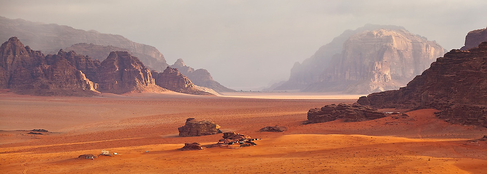 A (tourist) Bedouin camp in a broad canyon in Wadi Rum, Jordan.