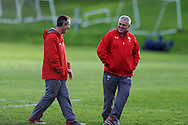 Wales coaches Rob Howley (l) and Warren Gatland. Wales rugby team training  at the Vale resort, Hensol, near Cardiff , South Wales on Tuesday 12th November 2013. pic by Andrew Orchard, Andrew Orchard sports photography,