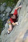 Jon Barton on Litany Against Fear, 6c, Horseshoe Quarry