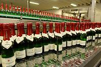 03 APR 2002, FREYBURG/GERMANY:<br /> Sektflaschen in der Abfuellanlage der Sektkellerei Rotkaeppchen<br /> IMAGE: 20020403-01-007<br /> KEYWORDS: Sekt, Rotkäppchen, Abfüllanlage, Flasche, Flaschen