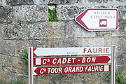 street sign  saint emilion bordeaux france