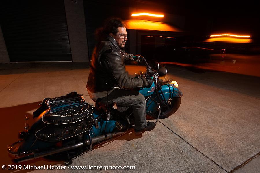 Billy Lane leaving his South Daytona Beach shop on his Indian during Daytona Bike Week. FL. USA. Monday March 12, 2018. Photography ©2018 Michael Lichter.