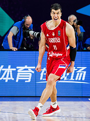 Vladimir Lucic of Serbia celebrates after winning during basketball match between National Teams of Russia and Serbia at Day 16 in Semifinal of the FIBA EuroBasket 2017 at Sinan Erdem Dome in Istanbul, Turkey on September 15, 2017. Photo by Vid Ponikvar / Sportida