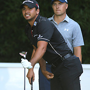 Jason Day, (left), Australia and Jordan Spieth, USA, in action during The Barclays Golf Tournament at The Plainfield Country Club, Edison, New Jersey, USA. 27th August 2015. Photo Tim Clayton