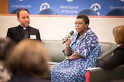 18 September 2017, Geneva, Switzerland: A talkshow format presents a range of programmes and activities of the World Council of Churches, at the Ecumenical Centre in Geneva where the WCC hosts a meeting of member churches' Ecumenical Officers. Here, Nyambura Njoroge.