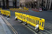 As Britain enters a period of deep recession, the streets are very quiet in the City of London with social distancing temporary road layouts marked out with rows of yellow barriers on 12th August 2020 in London, United Kingdom. The Office for National Statistics / ONS has announced that gross domestic product / GDP, the widest gauge of economic health, fell by 20.4% in the second quarter of the year, compared with the previous quarter. This is the biggest decline since records began. The result is that Britain has officially entered recession, as the UK economy shrank more than any other major economy during the coronavirus outbreak.