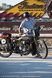 Bill Page on the Motorcycle Cannonball coast to coast vintage run. Stage 7 (274 miles) from Cedar Rapids to Spirit Lake, IA. Friday September 14, 2018. Photography ©2018 Michael Lichter.