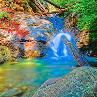 Redwood Gulch Waterfall, HDR Exercise. Image(s) taken with a Nikon D3x and 24 mm f/3.5 PC-E lens Singh-Ray filters (ISO 100, 24 mm, f/16, 2.5 to 30 sec). Raw image processed with Capture One Pro, HDR Express: Artistic.