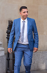 © Licensed to London News Pictures. 06/08/2018. Bristol, UK.  RYAN ALI leaving Bristol Crown court today at the start of his trial on charges of affray that relate to a fight outside a Bristol nightclub on September 25 2017. England cricketer Ben Stokes and two other men, Ryan Ali, 28, and Ryan Hale, 27, all deny the charge. Stokes, Ali and Hale are jointly charged with affray in the Clifton Triangle area of Bristol on September 25 last year, several hours after England had played a one-day international against the West Indies in the city. A 27-year-old man allegedly suffered a fractured eye socket in the incident. Photo credit: Simon Chapman/LNP