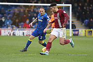 AFC Wimbledon defender Barry Fuller (2) battles for possession with Northampton Town midfielder Daniel Powell (11) during the EFL Sky Bet League 1 match between AFC Wimbledon and Northampton Town at the Cherry Red Records Stadium, Kingston, England on 10 February 2018. Picture by Matthew Redman.