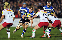 Bath Rugby captain Stuart Hooper goes on the attack - Photo mandatory by-line: Patrick Khachfe/JMP - Mobile: 07966 386802 28/11/2014 - SPORT - RUGBY UNION - Bath - The Recreation Ground - Bath Rugby v Harlequins - Aviva Premiership