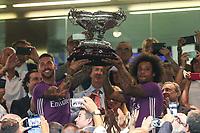 Real Madrid's Sergio Ramos and Marcelo during the XXXVII Bernabeu trophy between Real Madrid and Stade de Reims at the Santiago Bernabeu Stadium. August 15, 2016. (ALTERPHOTOS/Rodrigo Jimenez)