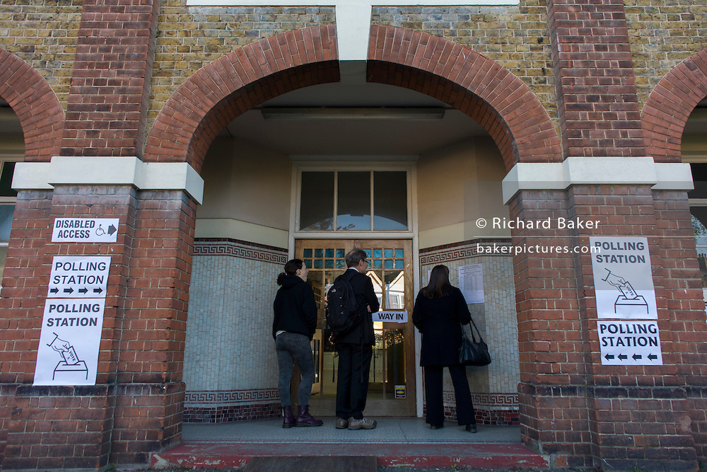 London 7th May 2015: Britons go to the polls today in a general election predicted to be the closest for decades as no single party is expected to secure a majority. Londoners wait for their polling station in a local church to open at 7.00am. Richard Baker / Alamy Live News.