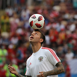 July 1, 2018 - Moscow, Russia - July 01, 2018, Russia, Moscow, FIFA World Cup 2018, the playoff round. Football match Spain - Russia at the stadium Luzhniki. Player of the national team Fedor Smolov. (Credit Image: © Russian Look via ZUMA Wire)