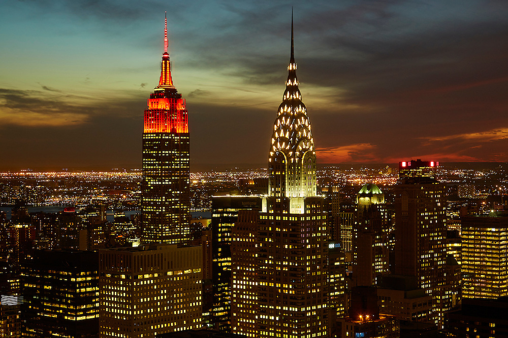 View of the Empire State Building and Chrysler Building from 845 United Nations Plaza, 86th floor