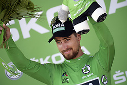 July 8, 2018 - La Roche-Sur-Yon, FRANCE - Slovak Peter Sagan of Bora-Hansgrohe celebrates on the podium in the green jersey of leader in the sprint ranking after the second stage of the 105th edition of the Tour de France cycling race, 182,5km from Mouilleron-Saint-Germain to La Roche-sur-Yon, France, Sunday 08 July 2018. This year's Tour de France takes place from July 7th to July 29th. BELGA PHOTO YORICK JANSENS (Credit Image: © Yorick Jansens/Belga via ZUMA Press)