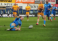 Rugby Union - 2020 / 2021  ER Champions Heineken Cup - Quarter-final - Exeter Chiefs vs Leinster - Sandy Park<br /> <br /> Rory O'Loughlin of Leinster goes over with their last try of the match<br /> <br /> Credit : COLORSPORT/ANDREW COWIE