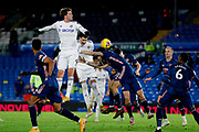 Leeds United forward Patrick Bamford (9) and Leeds United defender Robin Koch (5) headers the ball during the Premier League match between Leeds United and Arsenal at Elland Road, Leeds, England on 22 November 2020.