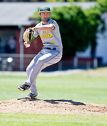 Keenan Clarke of the Bothasig Knights pitching during their Major League game against the Bellville Tygers held at the Tygers' home ground at the PP Smit stadium in Bellville on 23 October 2016. Photo by John Tee/RealTime Images.