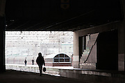 Passenger walking along platform at Yaroslavsky railway station, Moscow. Russia