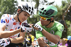 July 21, 2017 - Salon-De-Provence, FRANCE - French Warren Barguil of Team Sunweb wearing the polka-dot jersey for the best climber and Australian Michael Matthews of Team Sunweb wearing the green jersey of leader in the sprint ranking at the start of the nineteenth stage of the 104th edition of the Tour de France cycling race, 222,5km from Embrun to Salon-de-Provence, France, Friday 21 July 2017. This year's Tour de France takes place from July first to July 23rd...BELGA PHOTO YORICK JANSENS (Credit Image: © Yorick Jansens/Belga via ZUMA Press)
