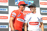 November 4th 2010: Duane Desoto and Antoine Delpero on stage after the final of the ASP World Longboard Championship at Makaha Oahu-Hawaii. Photo by Matt Roberts/mattrIMAGES.com.au