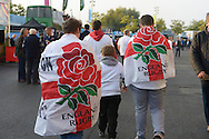 Group of England supporters draped in 'England Rugby'  flags. Rugby World Cup 2015 pool A match, England v Australia at Twickenham Stadium in London, England  on Saturday 3rd October 2015.<br /> pic by  John Patrick Fletcher, Andrew Orchard sports photography.