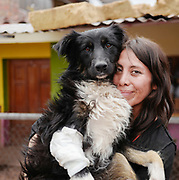 Maite with Valiente who suffered a fractured leg after being hit by a bus.