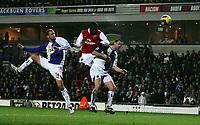 Photo: Paul Thomas.<br />Blackburn Rovers v Arsenal. The Barclays Premiership. 13/01/2007.<br /><br />Kolo Toure (Red) scores for Arsenal.