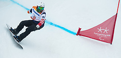 March 16, 2018 - Pyeongchang, South Korea - Mike Minor of the US on his first run in the Snowboard Banked Slalom event Friday, March 16, 2018 at Jeongseon Alpine Center at the Pyeongchang Winter Paralympic Games. Photo by Mark Reis (Credit Image: © Mark Reis via ZUMA Wire)