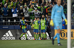 November 30, 2017 - Seattle, Washington, U.S - Soccer 2017: The Sounders and their fans celebrate a WILL BRUIN (17) goal as the Houston Dynamo play the Seattle Sounders in the 2nd leg of the MLS Western Conference Finals match at Century Link Field in Seattle, WA. Seattle won the match 3-0. (Credit Image: © Jeff Halstead via ZUMA Wire)