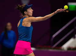 February 12, 2019 - Doha, QATAR - Mihaela Buzarnescu of Romania in action during the first round at the 2019 Qatar Total Open WTA Premier tennis tournament (Credit Image: © AFP7 via ZUMA Wire)