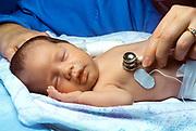 Nurse attends premature infant in an incubator in neonatal intensive care unit (NICU)