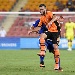 BRISBANE, AUSTRALIA - JANUARY 31: Arana of the Roar is fouled by OJ Clarino of Global FC during the second qualifying round of the Asian Champions League match between the Brisbane Roar and Global FC at Suncorp Stadium on January 31, 2017 in Brisbane, Australia. (Photo by Patrick Kearney/Brisbane Roar)