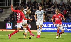 Carl Lange (FC Helsingør) blokeres af Frederik Alves Ibsen (Silkeborg IF) under kampen i 1. Division mellem FC Helsingør og Silkeborg IF den 11. september 2020 på Helsingør Stadion (Foto: Claus Birch).