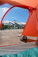 View of Eagle cap from inside of tent at backcountry camp Eagle Cap Wilderness Oregon