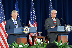 June 21, 2017 - Washington, DC, United States of America - U.S. Secretary of State Rex Tillerson, right, and Defense Secretary Jim Mattis speak to the media following the inaugural U.S.-China Diplomatic and Security Dialogue at the State Department June 21, 2017 in Washington, DC. (Credit Image: © Glen Johnson/Planet Pix via ZUMA Wire)