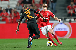 February 21, 2019 - Lisbon, Portugal - lex Grimaldo of SL Benfica in action during the Europa League 2018/2019 footballl match between SL Benfica vs Galatasaray AS. (Credit Image: © David Martins/SOPA Images via ZUMA Wire)
