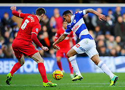 QPR Midfielder Jermaine Jenas (ENG) breaks as Charlton Defender Dorian Dervite (FRA) defends during the first half of the match - Photo mandatory by-line: Rogan Thomson/JMP - Tel: 07966 386802 - 23/11/2013 - SPORT - Football - London - Loftus Road - QPR v Charlton Athletic - Sky Bet Championship