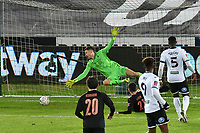 Football - 2020 / 2021 Emirates FA Cup - Round Five - Swansea City vs Manchester City - Liberty Stadium<br /> <br /> Freddie Woodman OF Swansea City is beaten by a shot from Kyle Walker OF Manchester City