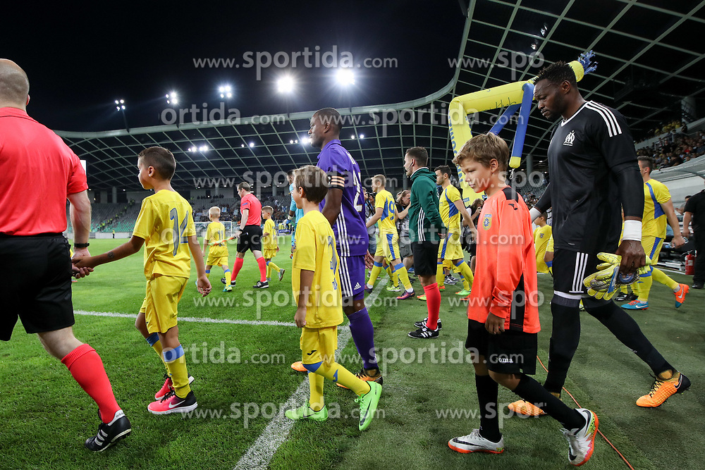 Patrice Evra of Olympic Marseille and Steve Mandanda of Olympic Marseille during football match between NK Domzale and Olympique de Marseille in First game of UEFA Europa League playoff round, on August 17, 2017 in SRC Stozice, Ljubljana, Slovenia. Photo by Morgan Kristan / Sportida