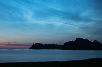 Noctilucent clouds shine in sky over Nappstraumen and mountains of Vestvågøy, Lofoten Islands, Norway