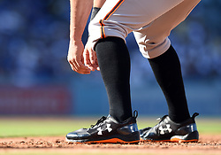 March 29, 2018 - Los Angeles, CA, U.S. - LOS ANGELES, CA - MARCH 29: San Francisco Giants First base Brandon Belt (9) leads off of first during the MLB opening day game between the San Francisco Giants and the Los Angeles Dodgers on March 29, 2018 at Dodger Stadium in Los Angeles, CA. (Photo by Chris Williams/Icon Sportswire) (Credit Image: © Chris Williams/Icon SMI via ZUMA Press)