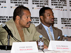 LOS ANGELES, California (September, 24 2008) - Shane Mosley and his Father Jack Mosley at The Millennium Biltmore Hotel Los Angeles Press Conference September 24, 2008.